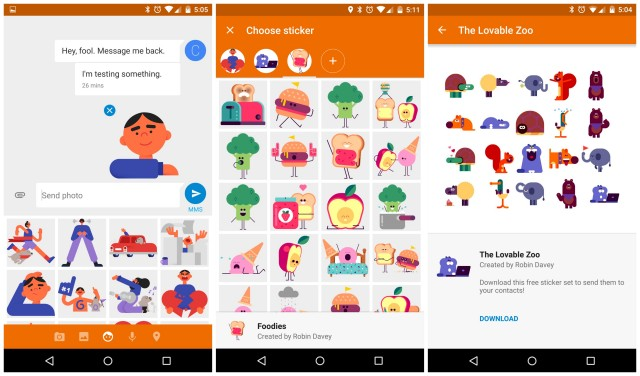 Google Messenger 1.4 stickers