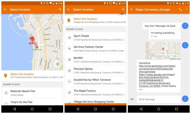 Google Messenger 1.4 update location