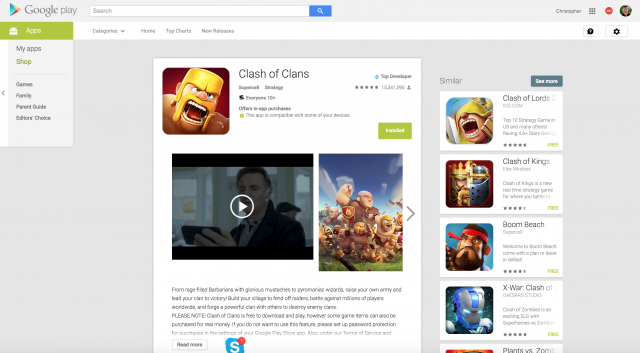 Google Play Store web interface update