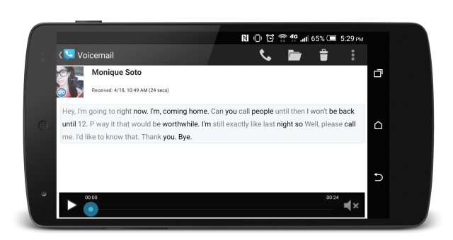 Google Voice voicemail transcription