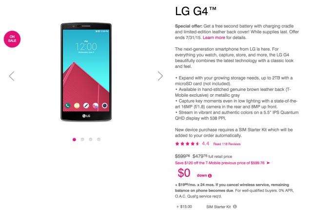 LG G4 T-Mobile price drop 480 dollars
