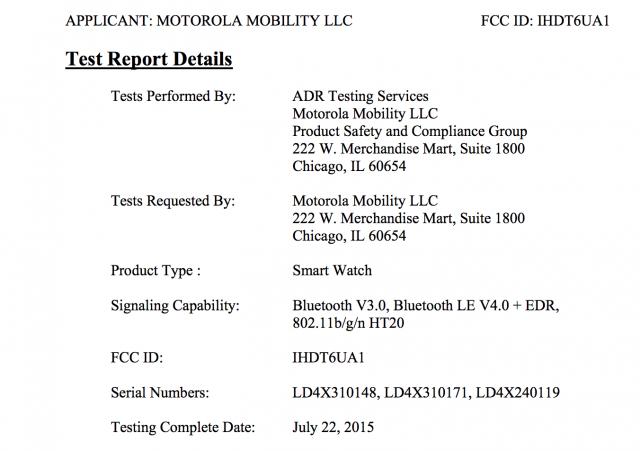 Motorola Moto 360 2015 FCC 1