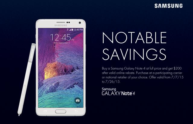 Samsung Galaxy Note 4 Notable Savings promo