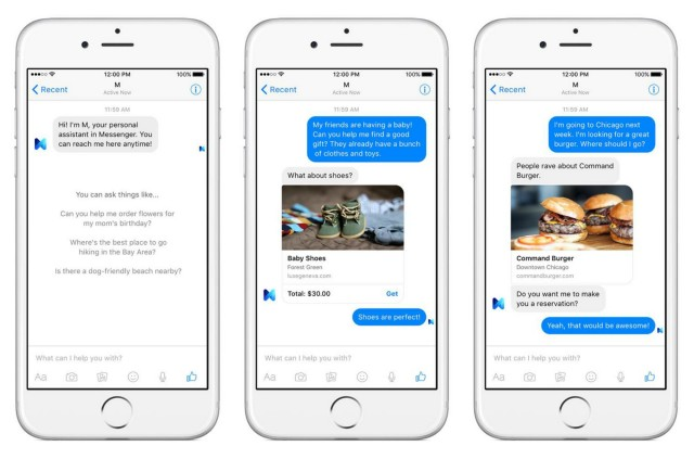 Facebook M virtual assistant screenshots