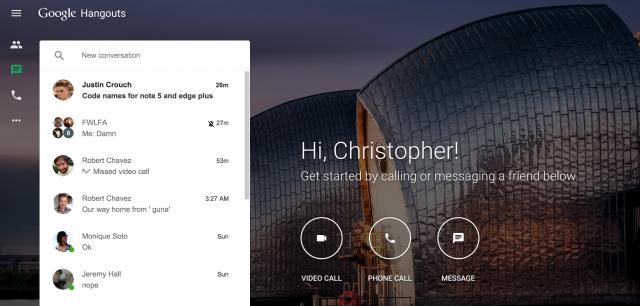 Hangouts web interface