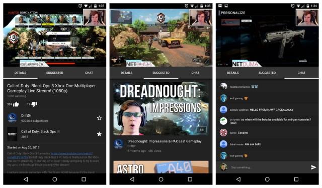 YouTube Gamin live stream screenshots