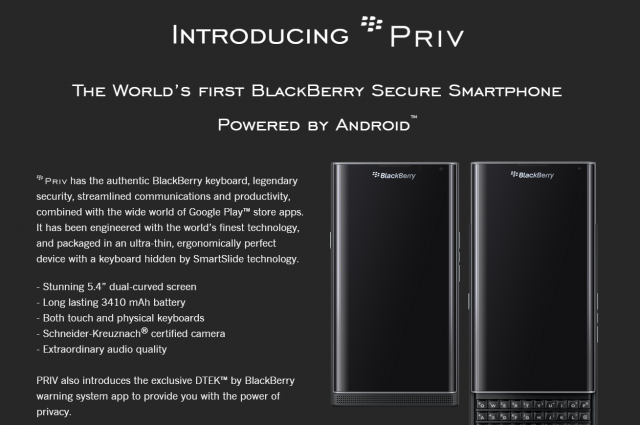 BlackBerry Android Phone   PRIV   Get Updates   United States