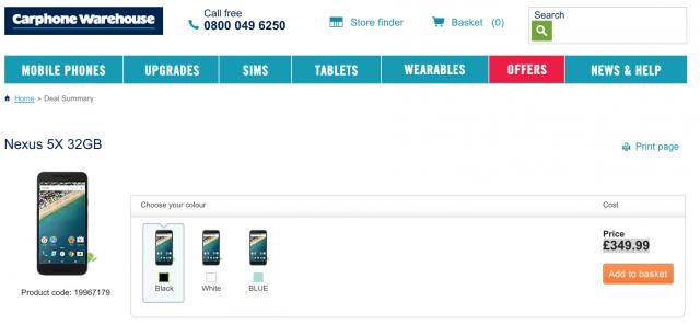 Carphone Warehouse Nexus 5X 32GB deal