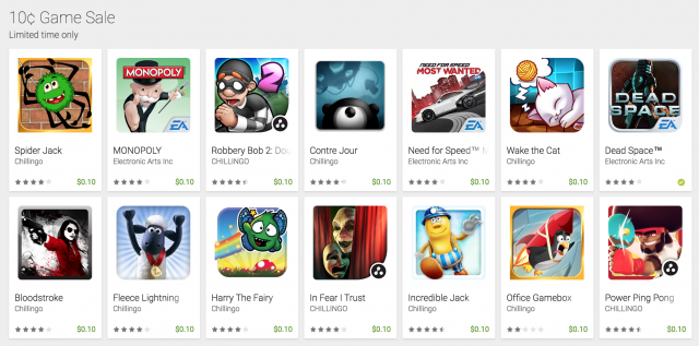 Google Play Store 10 cent sale