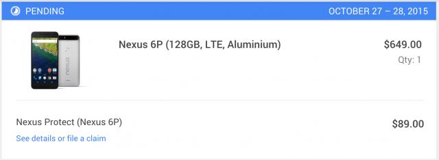 nexus 6p shipment date