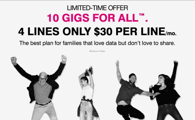 T-Mobile 10 gigs for all plan return