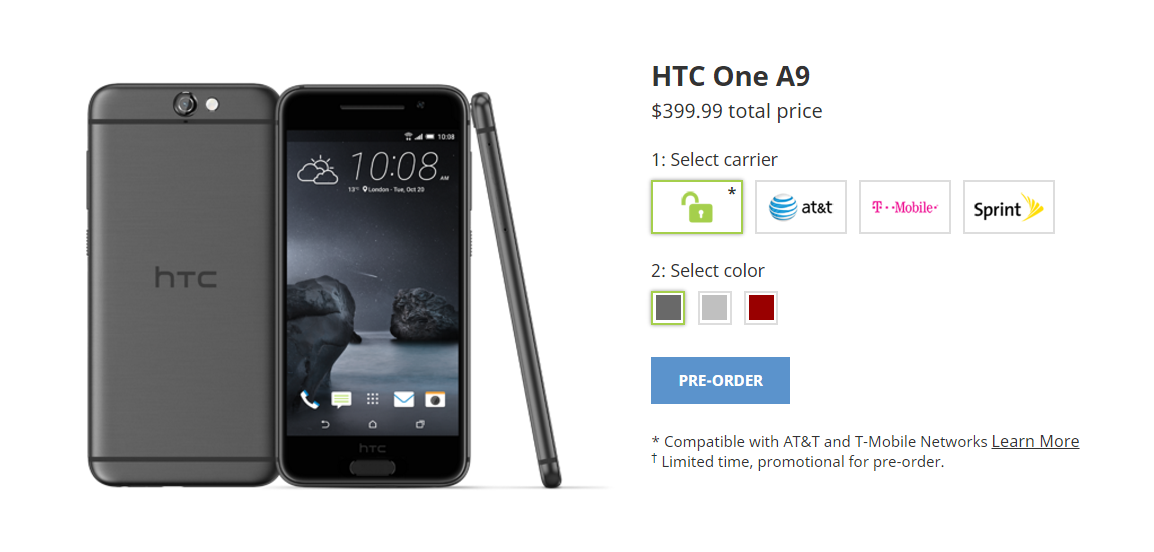 pre ordering the htc one a9 399 99 for 32gb model is a promotional