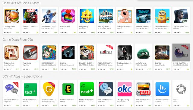 Google Play Cyber Weekend sale 2015