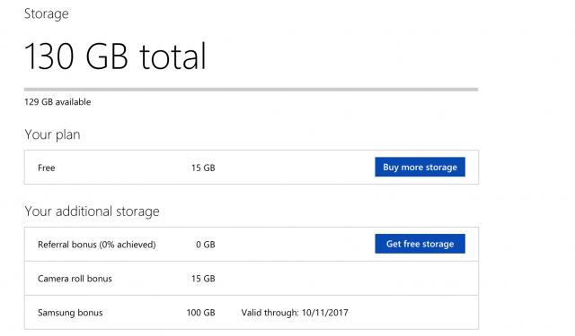 Microsoft OneDrive storage