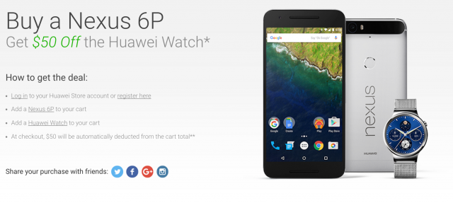 Nexus 6P Huawei Watch 50 dollar promo