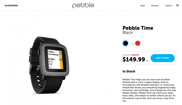Pebble Time discount 50 dollars