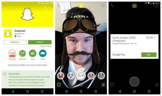 Snapchat update Lens Store
