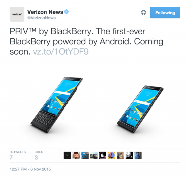 Verizon BlackBerry PRIV tweet