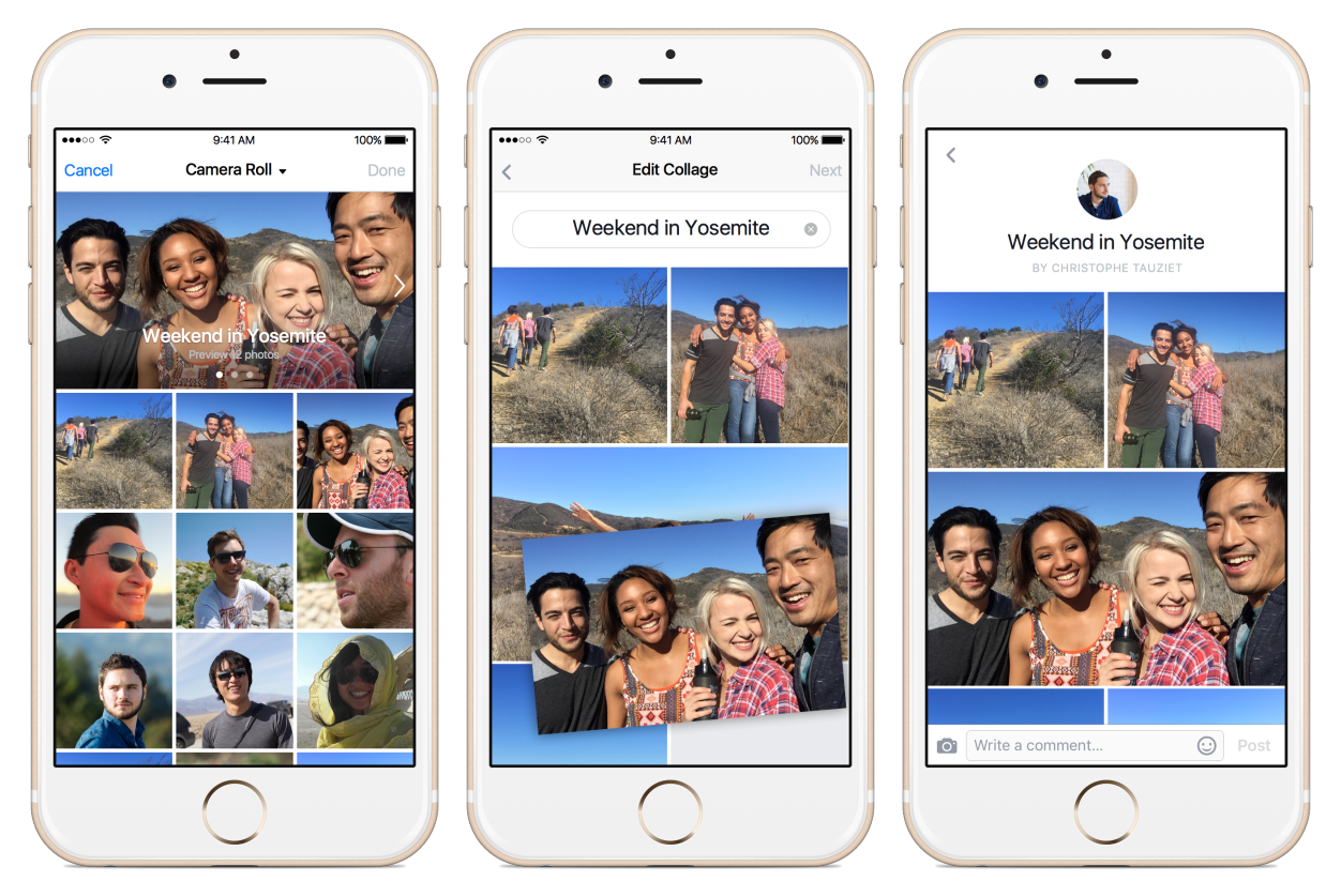 Как в фейсбук сделать коллаж из фото