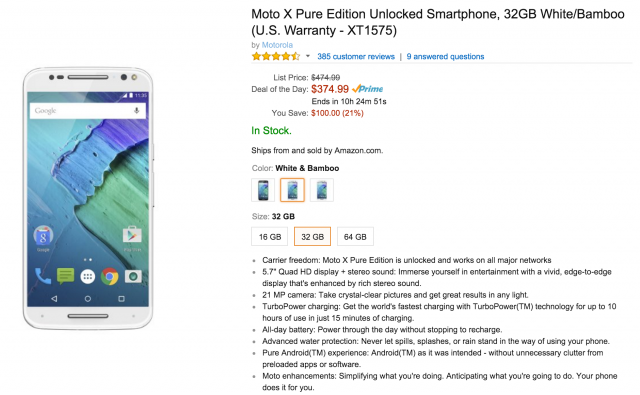 Moto X Pure Edition Amazon sale