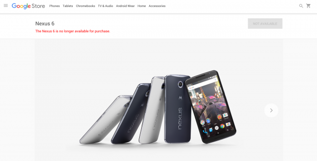 Nexus 6 no longer available for purchase Google Store