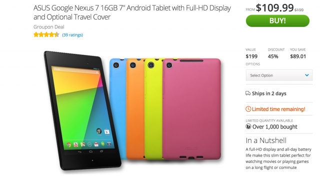 Nexus 7 2013 Groupon deal