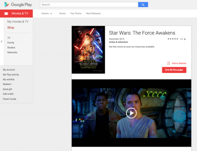 Star Wars The Force Awakens Google Play preorder