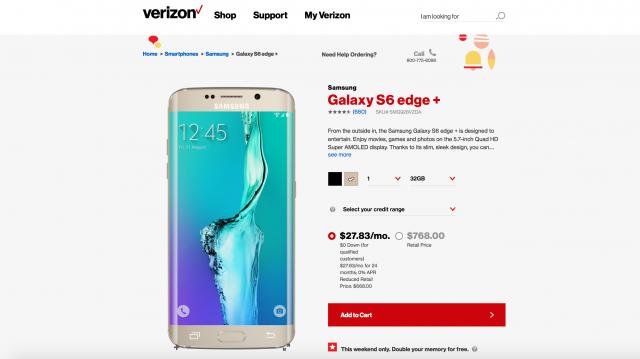 Verizon Samsung 64GB for 32GB promo