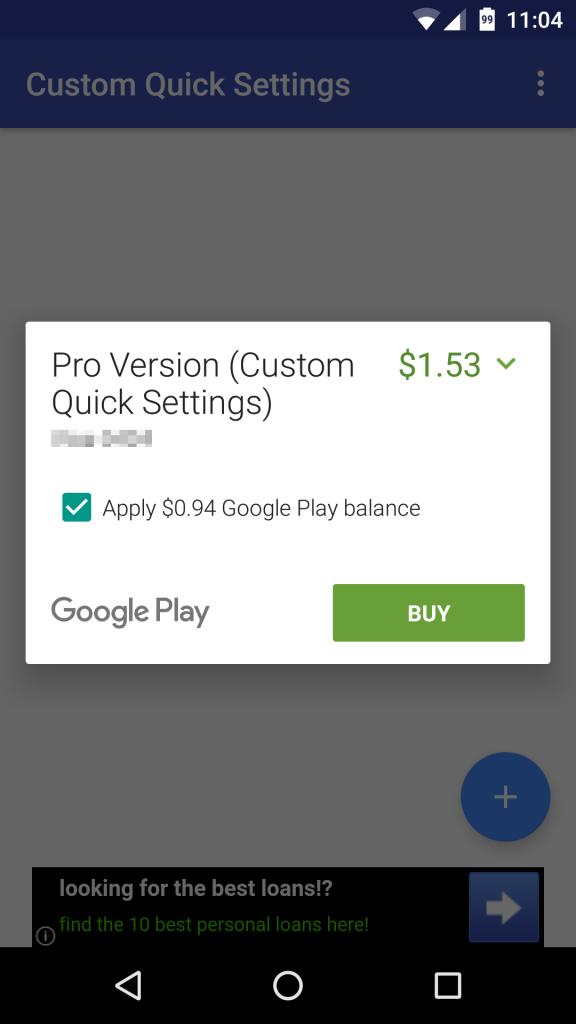 google play partial credit