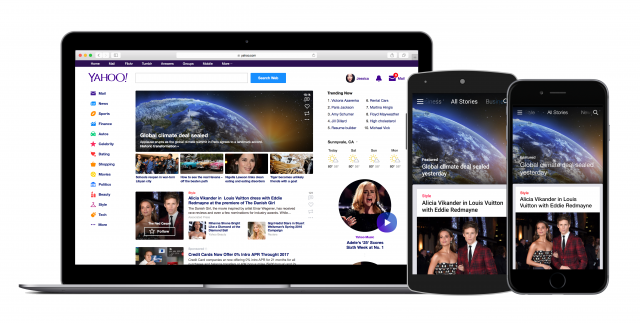 Yahoo app and homepage
