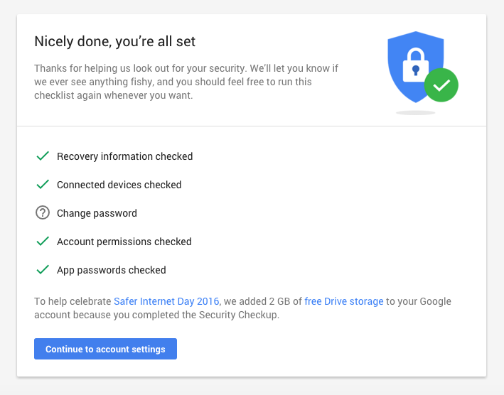 Check your Google security settings, get 2 GB of free Drive storage