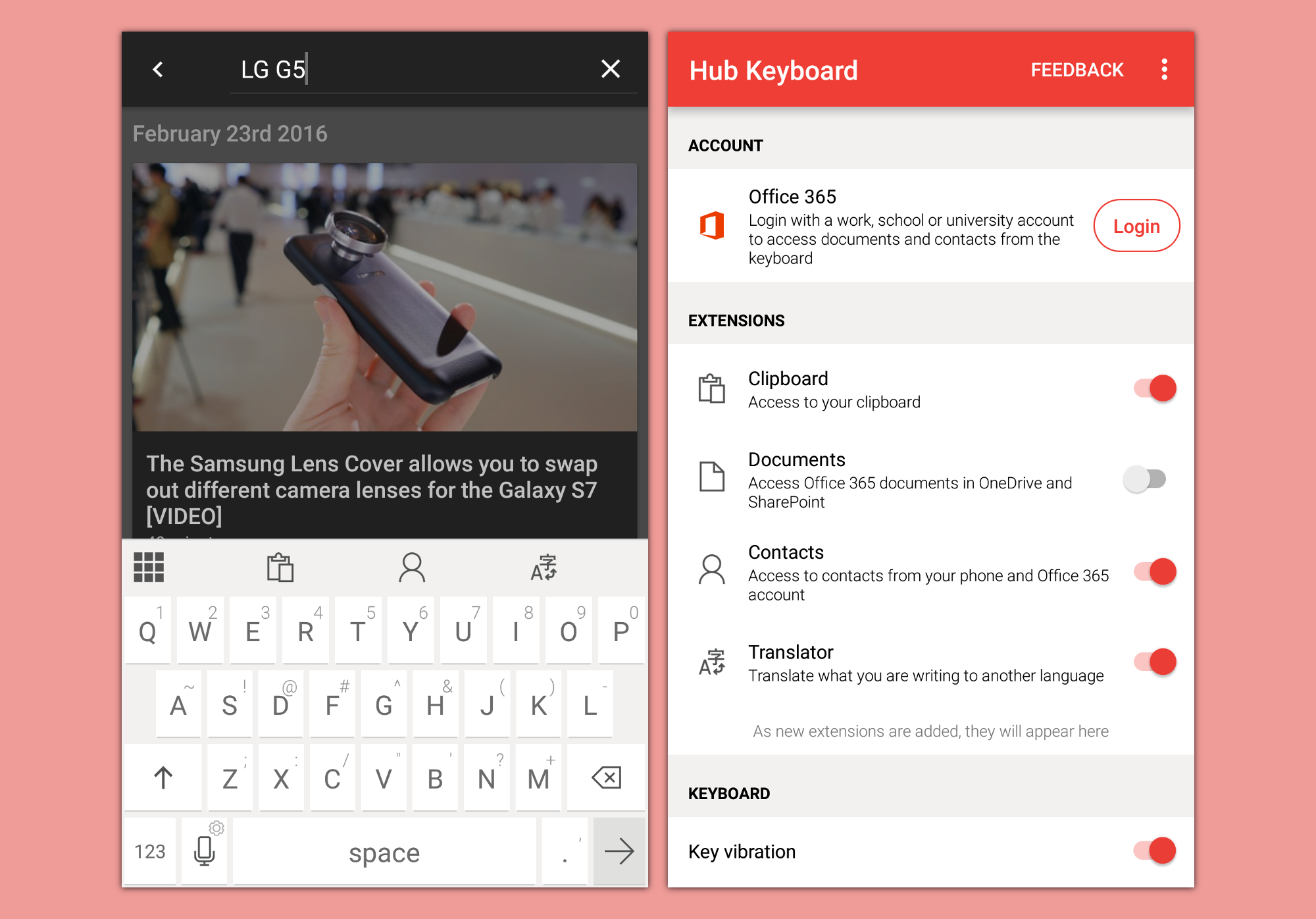 Microsoft Hub Keyboard for Android includes translation, clipboard, search tools