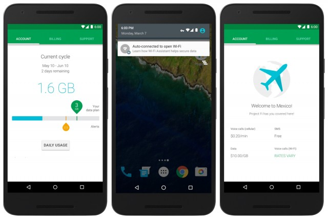 Google Project Fi screen shots
