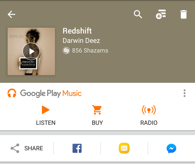 Shazam Google Play Music bar