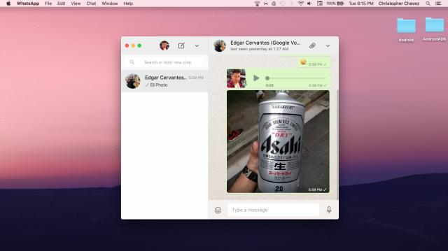 WhatsApp desktop app Mac OSX