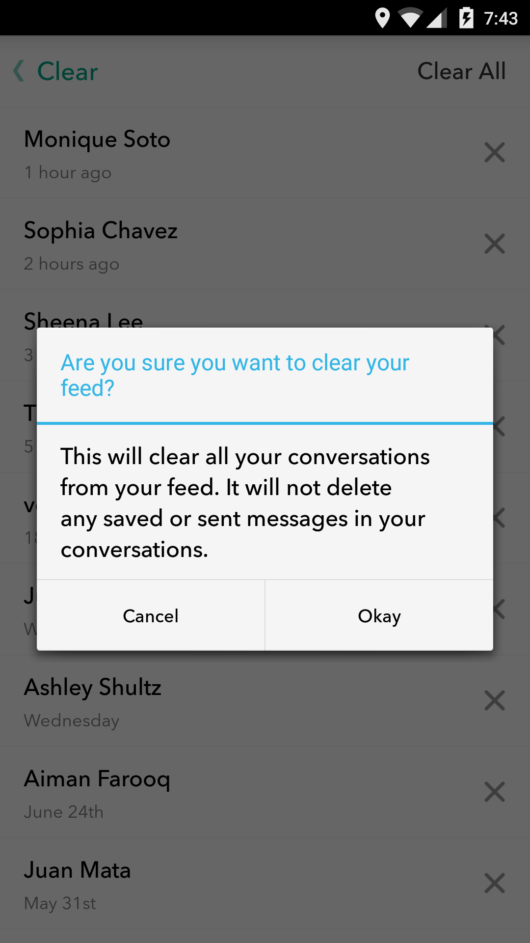 Conversations You Have Clear Out Whenever You Leave The Chat, But The Main  Conversation List €� Including All The People You've Recently Been Chatting  With