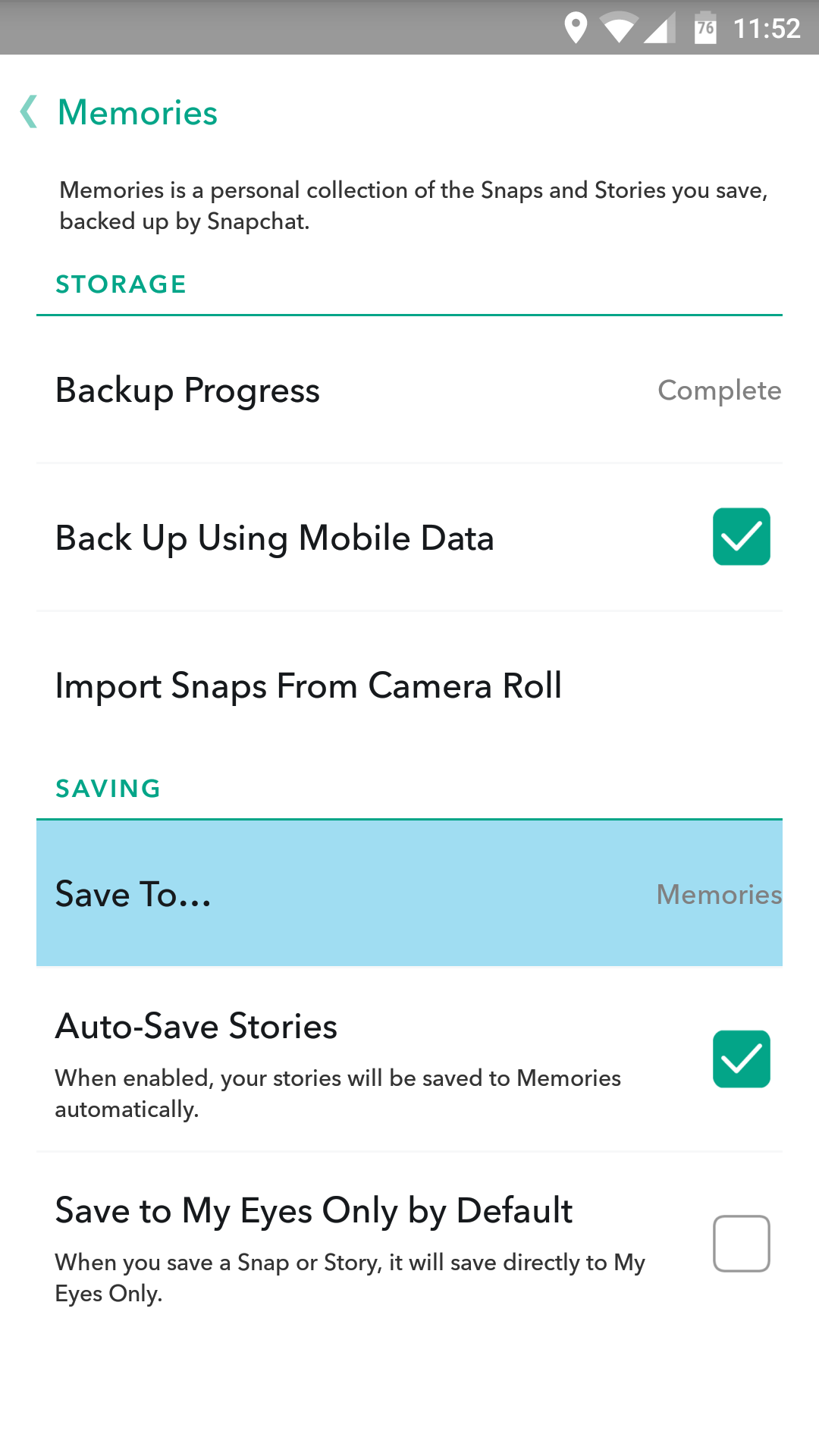 Arguably The Most Useful Features Memories Offers Are In Its Settings By  Default, Memories Doesn't Auto Save Snaps And Stories €� You'll Have To Do  It
