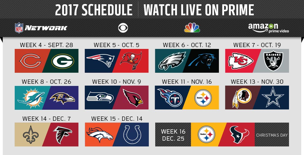 11 NFL Games that Amazon Prime will Stream Live in 2017