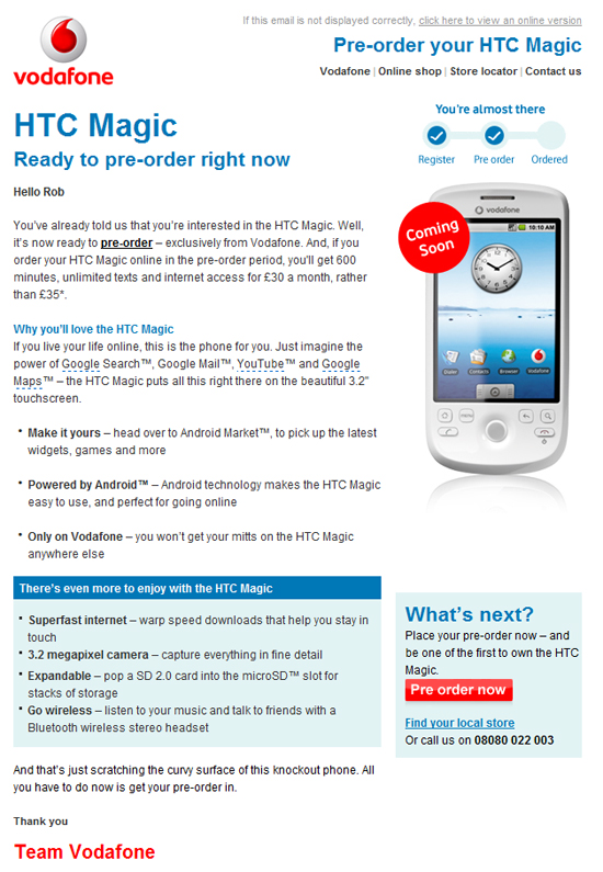 Vodafone announces htc magic pre order 3 days later vodafone htc magic email thecheapjerseys Choice Image