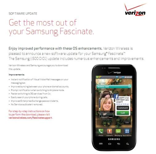 samsung fascinate to receive minor ota update rh phandroid com Samsung ManualsOnline Samsung Refrigerator Problems