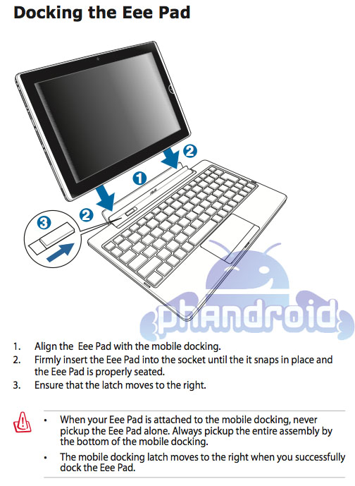 asus publishes eee pad transformer user manual rh phandroid com Asus Eee Pad with Keyboard Asus Eee Tablet