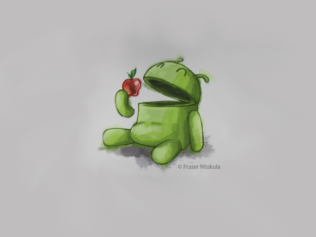 "Download The ""Android Eats Apple"" Wallpaper For Your Phone"