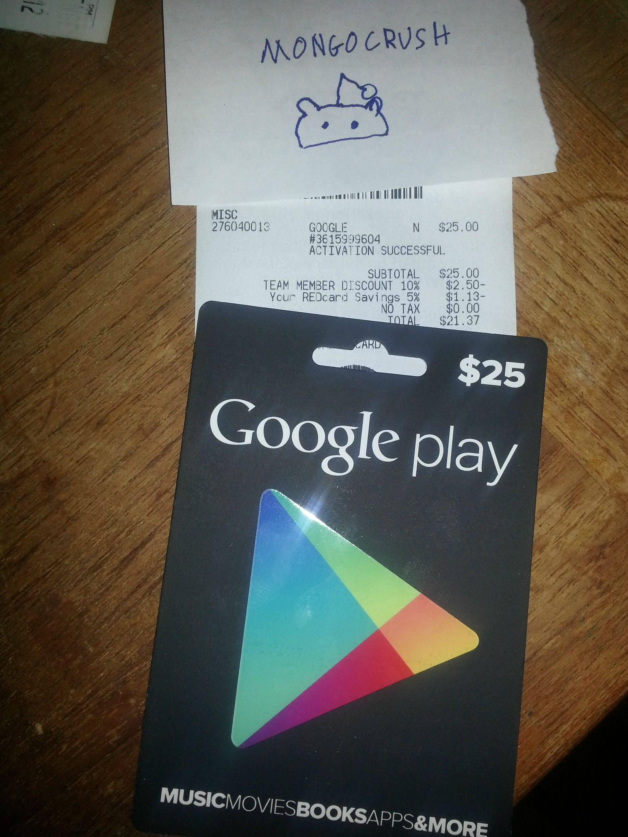 Google Play Store gift card allegedly purchased at store