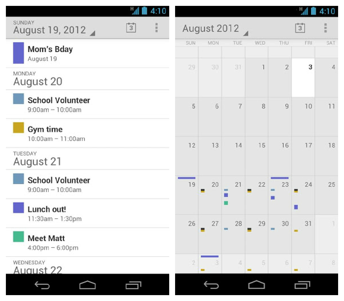Calendar App Android : The stock google calendar app is now available in play