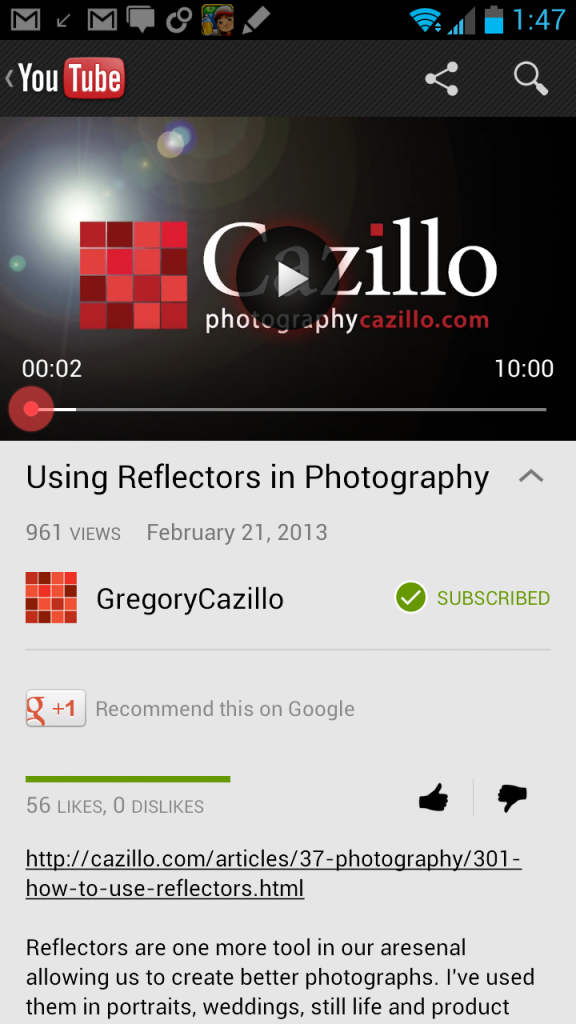 Youtube Notification Offers To Resume A Paused Video On: YouTube For Android Update Brings Google+ Profiles, New