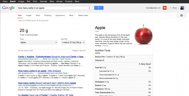 Google Search nutritional information web