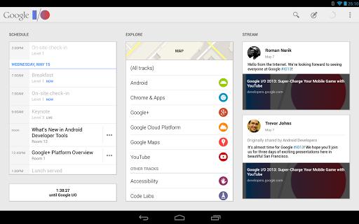 google io 2013 tablet app screen