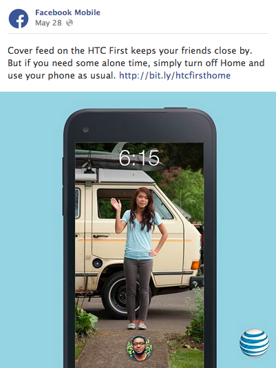 Facebook Mobile post HTC First Facebook Home