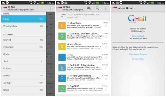 Gmail version 4.5 update