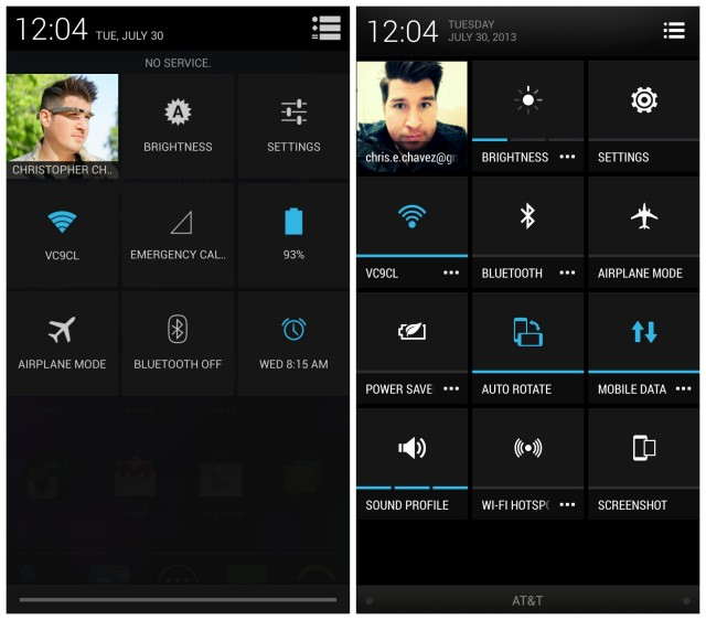 HTC One GPe vs Sense quick toggles